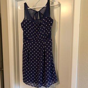 Blue and white polka dot summer dress.